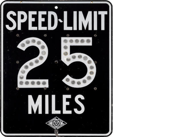 A 25 MPH Speed Limit sign,  1975,