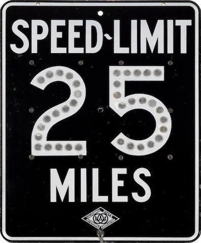 A 25 MPH Speed Limit sign,  1975,