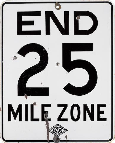 A End 25 MPH sign,