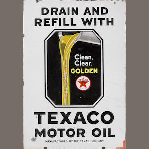 A rare, double-sided, Texaco Drain & Fill motor oil sign, c.40s,
