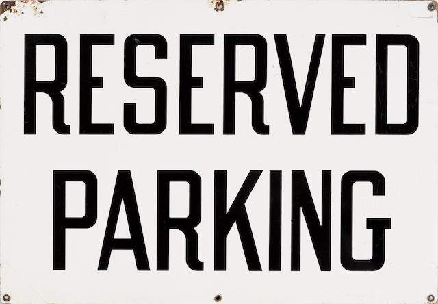 A Reserved Parking sign, c.50s,