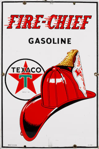 A Texaco Fire Chief pump plate, 1952,