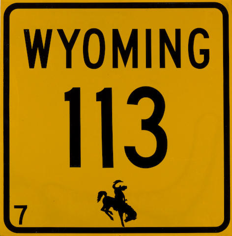 A Wyoming highway 113 sign,