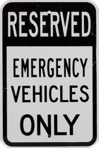 An Emergency Vehicles Only sign,