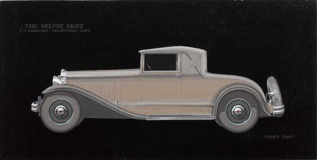 Attributed to Werner Gubitz,  Packard Deluxe Eight Convertible Coupe styling art, c.30s,