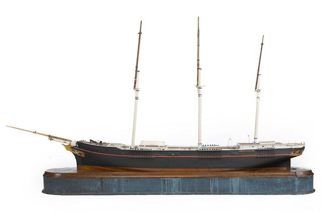 An model of the clipper ship Independence<BR /> late 19th century 67 x 8 x 44 in. (170 c 20.3 x 111.7 cm.) model on base.