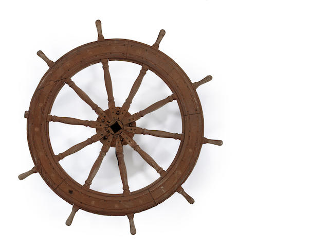 A steering wheel from the ship W.F. Babcock<BR /> circa 1880