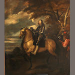 After Anthony van Dyck, Equestrian portrait of Charles I, 45 1/2 x 53in