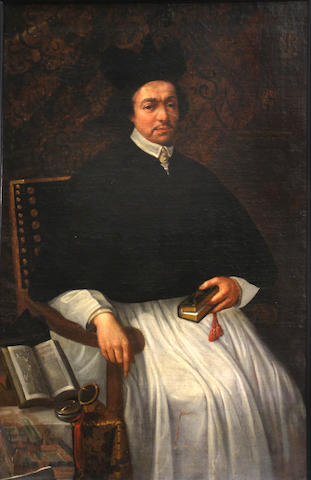 Italian School, 17th Century  SENDING TO BK A portrait of a cleric, seated, holding a book 54 1/4 x 35in