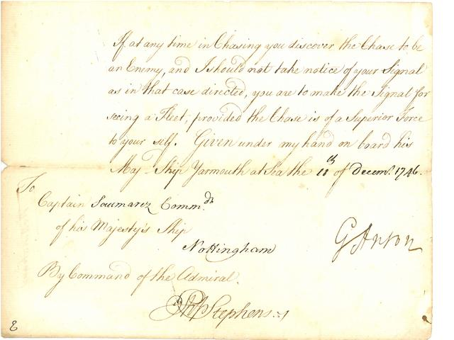 "ANSON, GEORGE. 1697-1762. Document Signed (""G. Anson""), 1 p, oblong 8vo, on board HMS Yarmouth, December 11, 1746,"