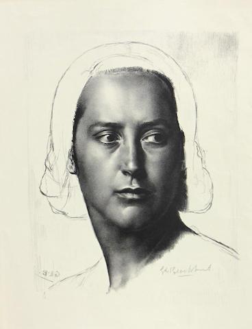 Gerald Leslie Brockhurst (British, 1891-1978); Head of a Girl (Anais, Mélisande);