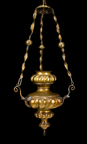A Spanish or Italian Baroque brass hanging lantern<BR />late 17th century with later additions