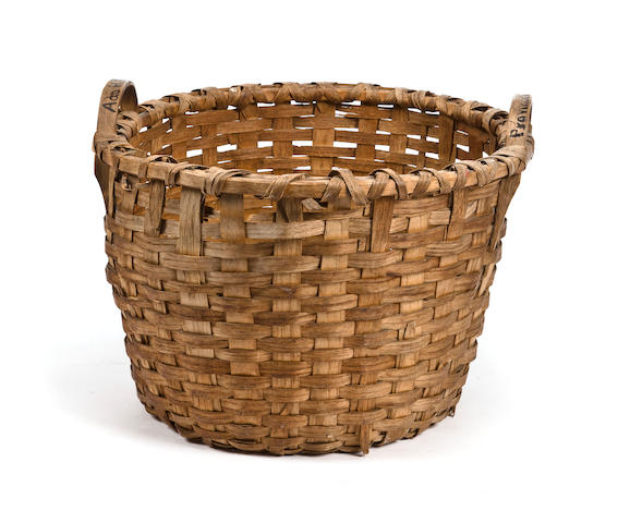 a large woven fish basket from a MA schooner