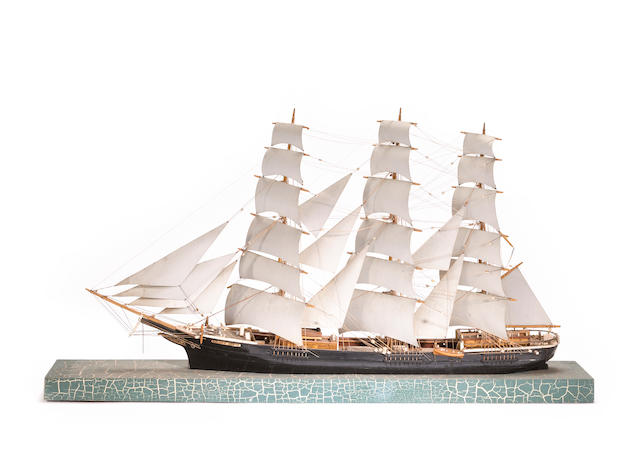 A waterline model of the American clipper ship Golden State<BR />  circa 1919 47 x 10 x 30 in. (119.3 x 25.4 x 76.2 cm.) model on base (approximate).