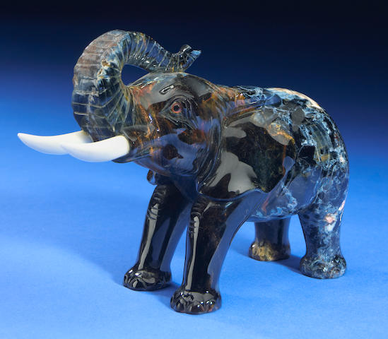 Carved Pietersite Elephant