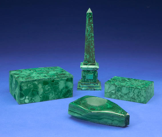 Group of Malachite Decorative Objects