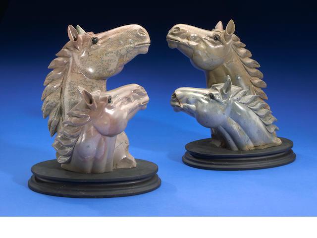 Pair of Horse Heads Carvings