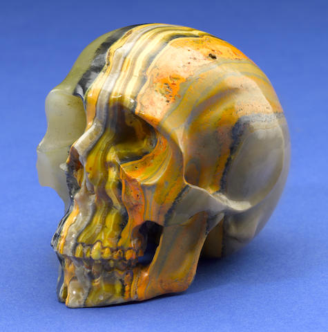 Bumble Bee Jasper Carved Skull