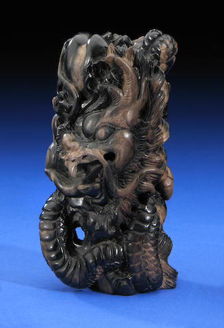 Santa Barbara Petrified Wood Carving Dragon