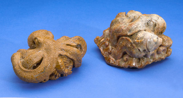 Two Carvings of Octopi