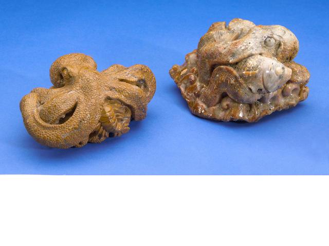 Santa Barbara Jasper Octopus & Indonesian Fossil Coral Octopus