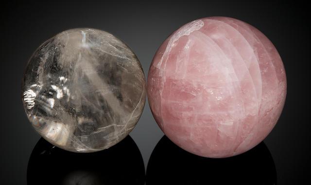 Two Carved Gemstone Spheres