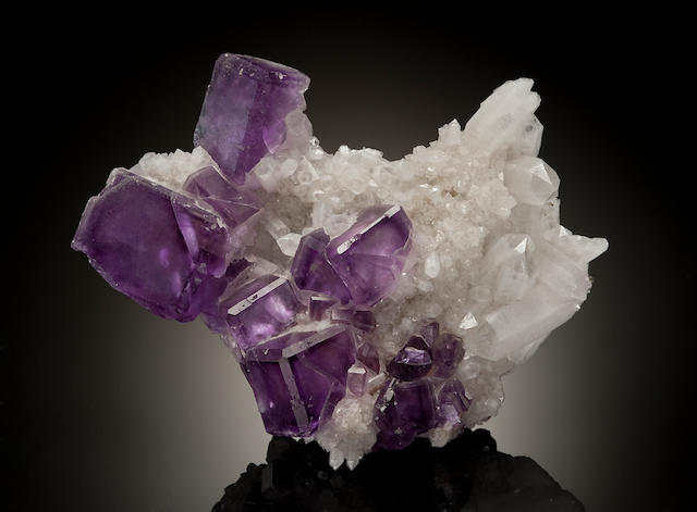Purple Fluorite with Calcite, Minerva Mine