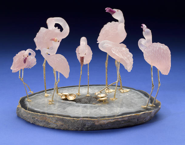 Carved Rose Quartz and Ruby Flamingos