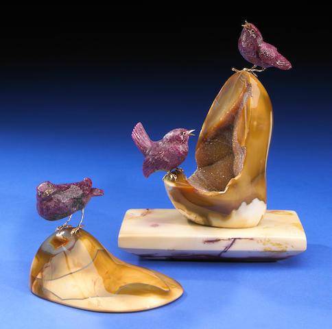 Two Ruby Finch Carvings (2)