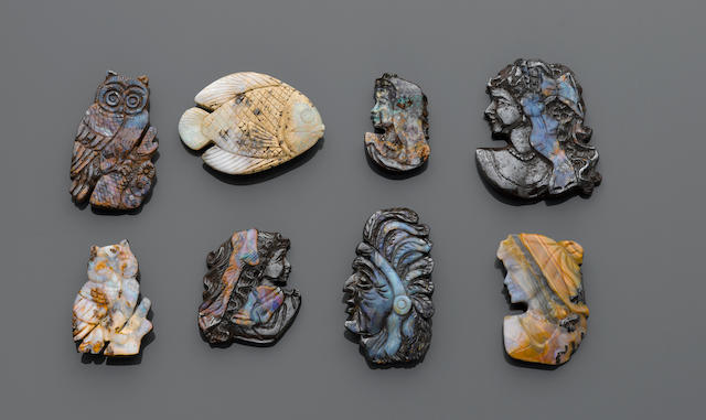 Group of 8 Boulder Opal Cameos