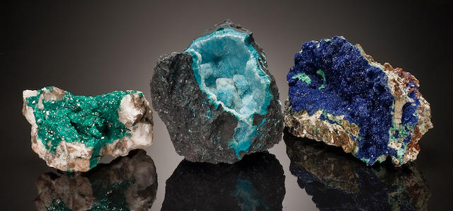 Group of Three Mineral Specimens: Chrysocolla, Globe, Arizona, Dioptase, Namibia, Azurite, Arizona