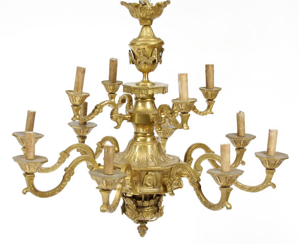 A Régence style gilt bronze twelve light chandelier