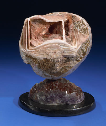 Atlas Mountain Quartz Cast on Red Quartz + Amethyst Base; Leo Atkinson