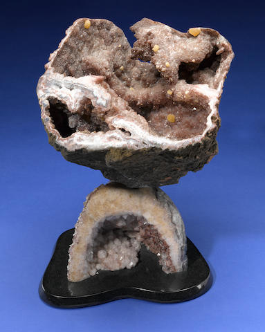 "Atlas Mountain Geode with Barite Crystals in Brazillian Amethyst Geode, 17 1/2"" X 15 3/4""; Leo Atkinson"
