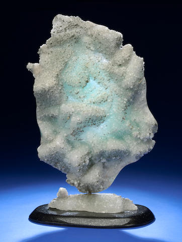 "Green Fluorite & Druzy Quartz + Pyrite ""Cameo"" Sculpture, Rotating; Leo Atkinson"