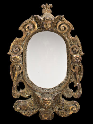 An Italian Baroque giltwood mirror<BR />early 18th century