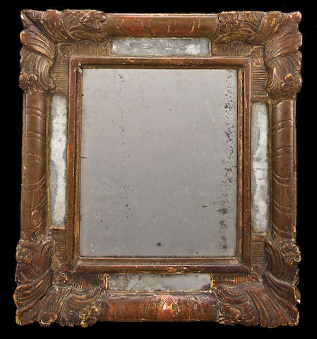 French late Regence mirror, carved in giltwood