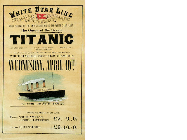 White Star Line, lithograph, printed Broadside, 1912 15x9.5inches