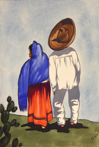 Unknown Artist A man and woman walking 13 x 10in unframed