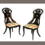 A pair of Victorian mother of pearl inlaid papier mâché side chairs