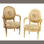 A Louis XVI style tapestry upholstered five piece salon suite