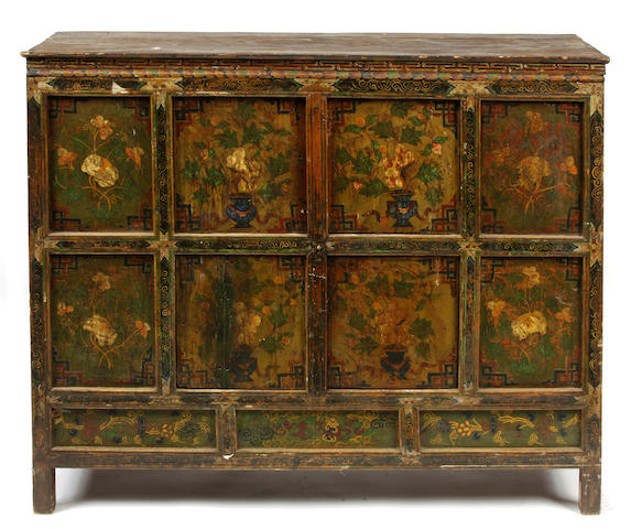 A Tibetan paint decorated chest
