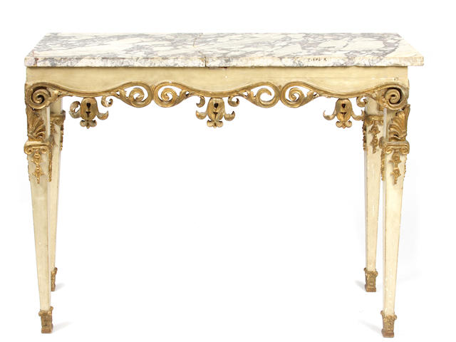An Italian Neoclassical style paint decorated and parcel gilt console table
