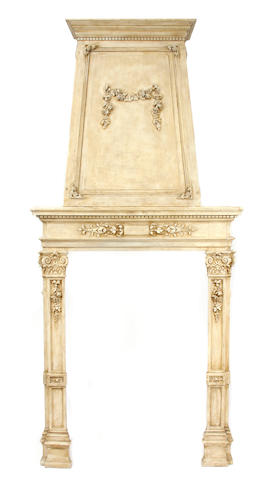 A Neoclassical style paint decorated fire surround