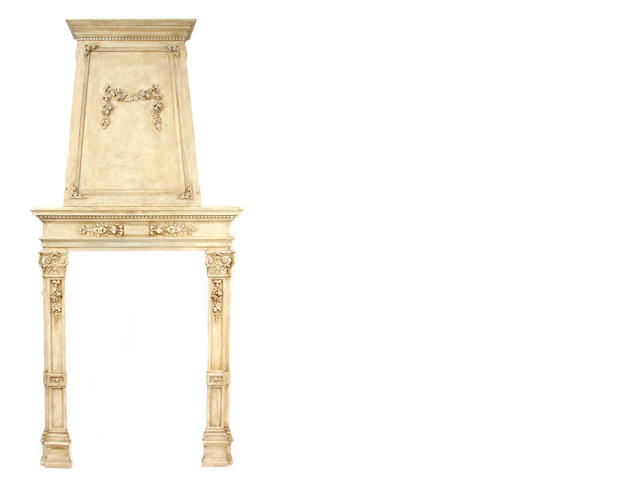 A Neoclassical style paint decorated wood fireplace mantel