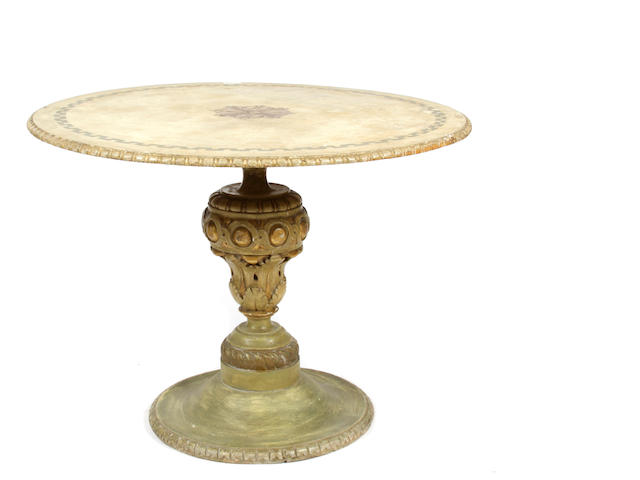 An Italian Renaissance style paint decorated pedestal table