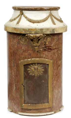 A French paint decorated and parcel gilt tabernacle