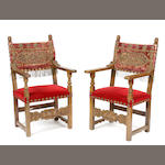 A pair of Continental Baroque style armchairs
