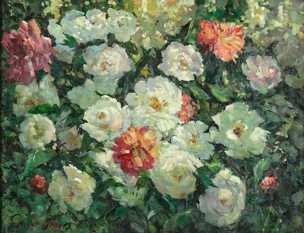 Abbott Fuller Graves (American, 1859-1936) Peonies 21 1/8 x 27 1/4in