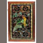 A leaded glass window depicting a parrot late 19th/early 20th century
